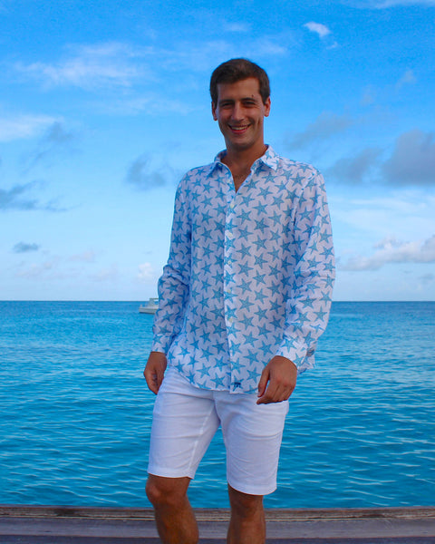 Mens Linen Shirt : SEASTAR - BLUE front Mustique life
