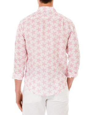 Mens Linen Shirt : SEASTAR - PINK back