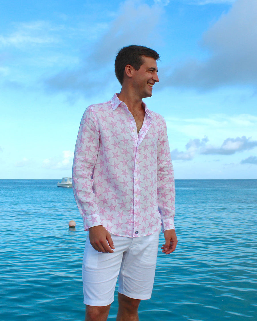 Mens Linen Shirt : SEASTAR - PINK