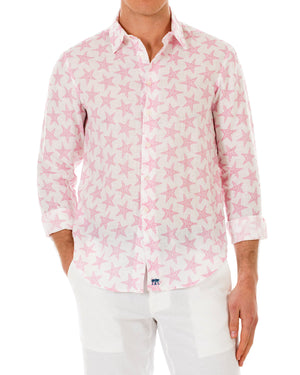 Mens Linen Shirt : SEASTAR - PINK front