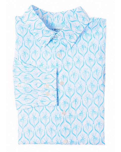 Mens Linen Shirt (Spiderlily Blue)