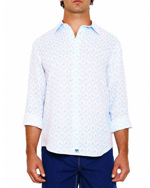 Mens Linen Shirt (Spiderlily Blue) Front