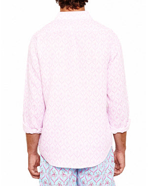 Mens Linen Shirt (Spiderlily Pink) Back