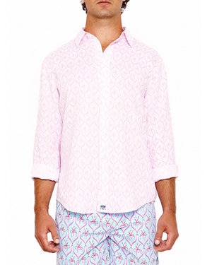 Mens Linen Shirt (Spiderlily Pink) Front