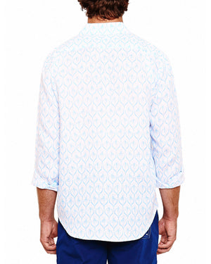 Mens Linen Shirt (Spiderlily Blue) Back