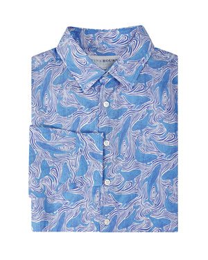 Mens pure linen shirt in blue whale print by Lotty B for Pink House Mustique