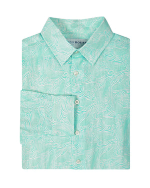 Mens Linen Shirt in Turquoise Green Whale Print by Lotty B Mustique Resortwear