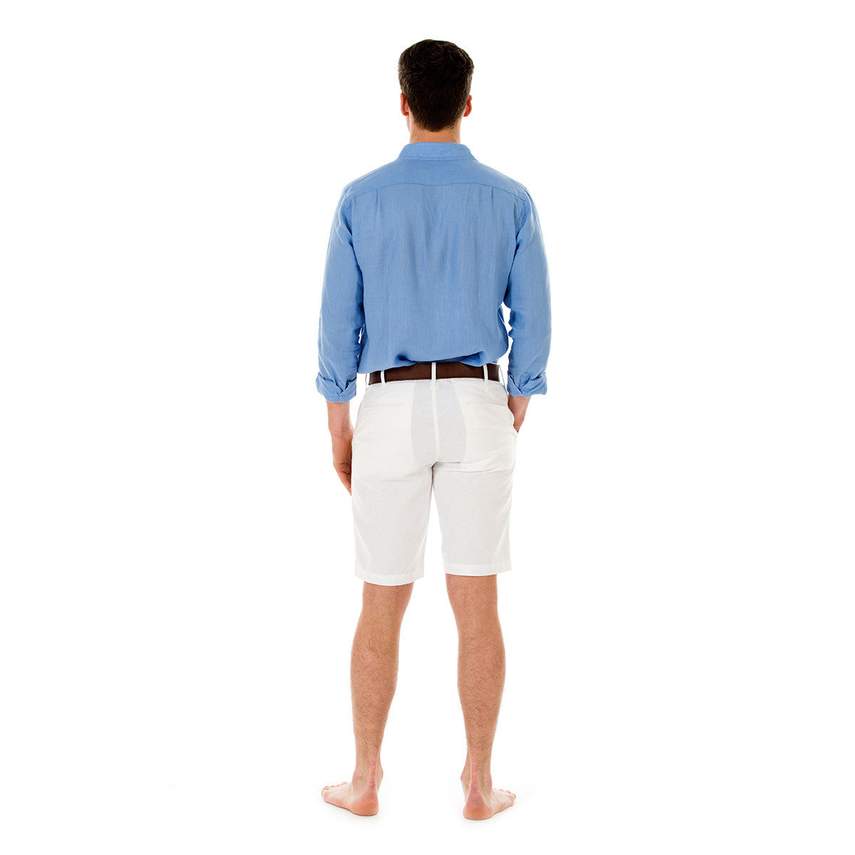 Mens Linen Shorts (White) Back