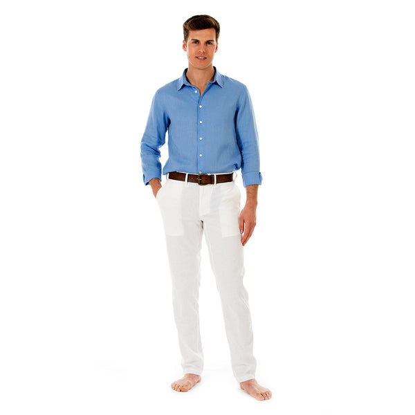 Mens Linen Trousers (White) Front
