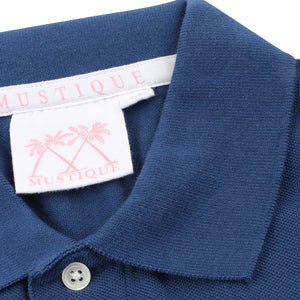 Mens Polo shirt: NAVY - WHITE MUSTIQUE applique - Collar detail