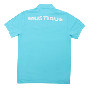 Mens Polo shirt: TURQUOISE - WHITE MUSTIQUE applique - back