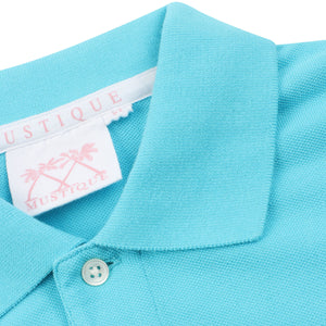 Mens Polo shirt: TURQUOISE - collar detail
