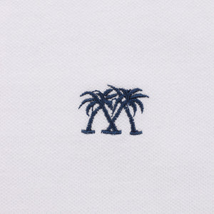 Mens Polo shirt: WHITE - WHITE MUSTIQUE applique - Emboidery