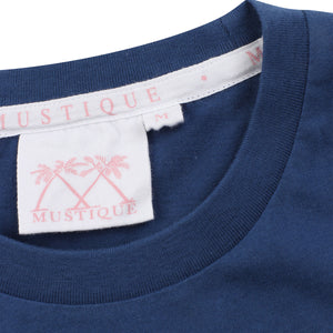 Mens T shirt: NAVY - WHITE MUSTIQUE applique - collar detail
