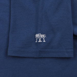 Mens T shirt: NAVY - WHITE MUSTIQUE applique - sleeve embroidery