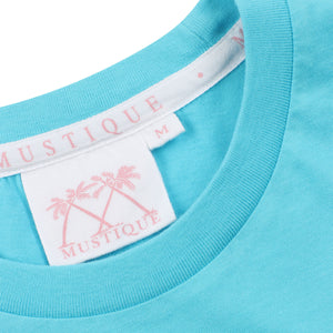 Mens T shirt: TURQUOISE - WHITE MUSTIQUE applique - collar detail
