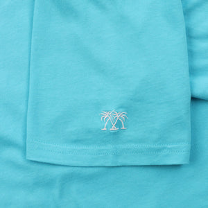 Mens T shirt: TURQUOISE - WHITE MUSTIQUE applique - sleeve embroidery