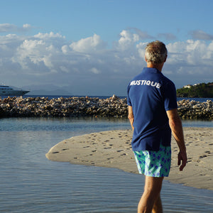 Mens Polo shirt: NAVY - WHITE MUSTIQUE applique - back Mustique style