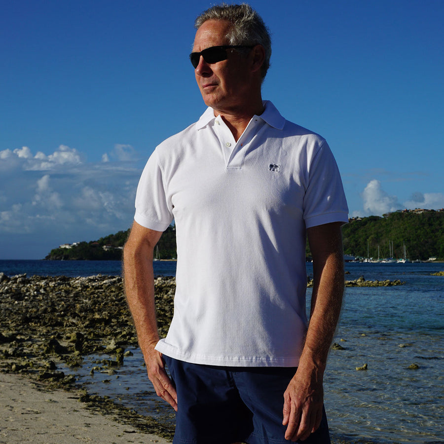 Mens Polo shirt: WHITE - WHITE MUSTIQUE applique - Back