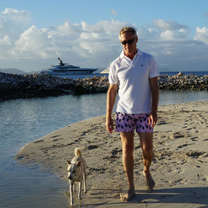 Mens Polo shirt: WHITE - WHITE MUSTIQUE applique - Monkey swim trunks