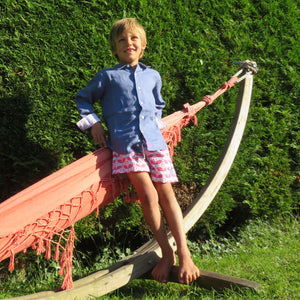 Childrens pure linen navy blue shirt & red blue guava print swim shorts  by Pink House Mustique, childrens resort clothing