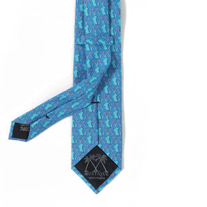 Mens Silk Tie : MUSTIQUE PALMS - BLUE - back