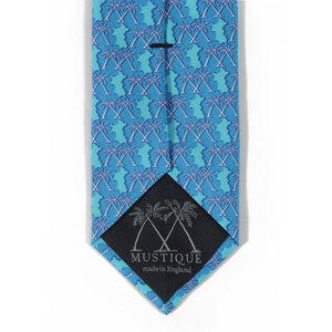 Mens Silk Tie : MUSTIQUE PALMS - BLUE - logo detail