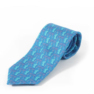 Mens Silk Tie : MUSTIQUE PALMS - BLUE - rolled