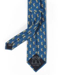 Mens Silk Tie : MUSTIQUE PALMS - NAVY / GOLD - back