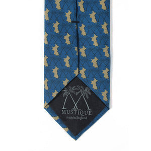 Mens Silk Tie : MUSTIQUE PALMS - NAVY / GOLD - logo detail