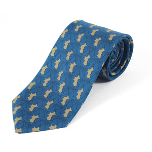 Mens Silk Tie : MUSTIQUE PALMS - NAVY / GOLD - rolled