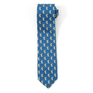 Mens Silk Tie : MUSTIQUE PALMS - NAVY / GOLD - front