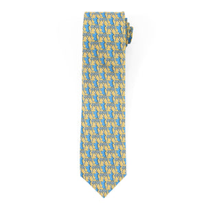 Mens Silk Tie : MUSTIQUE PALMS - YELLOW / BLUE