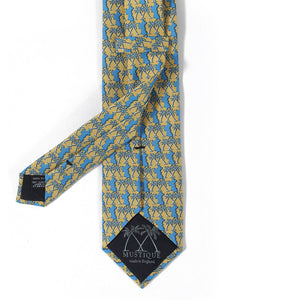Mens Silk Tie : MUSTIQUE PALMS - YELLOW / BLUE - back