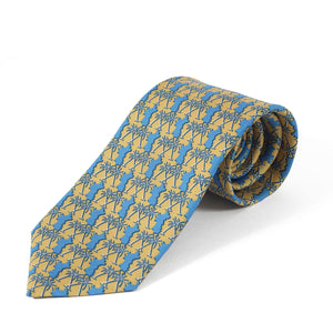 Mens Silk Tie : MUSTIQUE PALMS - YELLOW / BLUE - rolled