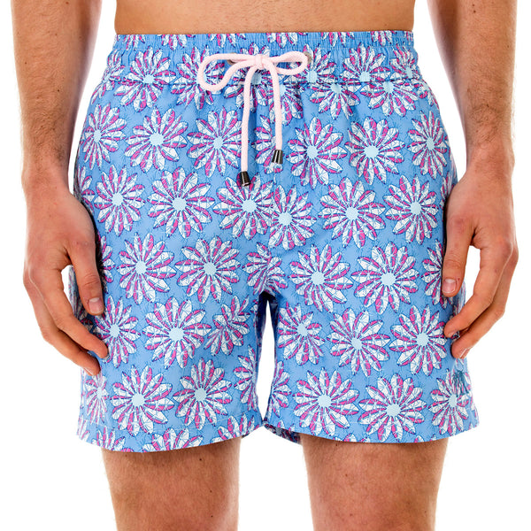 Mens swim trunks : CACTUS - BLUE/PINK front