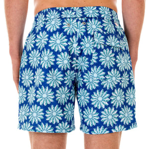 Mens swim trunks : CACTUS - NAVY/GREEN back