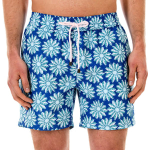 Mens swim trunks : CACTUS - NAVY/GREEN front