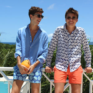 Mens swim trunks : CACTUS - NAVY/GREEN mustique life