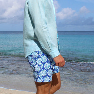Mens swim trunks : CACTUS - NAVY/GREEN mustique beach