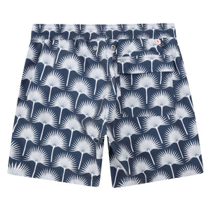 Mens swim trunks : FAN PALM - NAVY, back