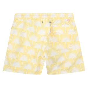 Mens swim trunks : FAN PALM - YELLOW, back