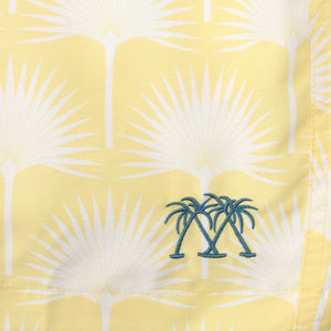 Mens swim trunks : FAN PALM - YELLOW, print detail