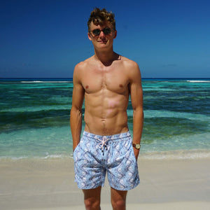 Mens swim trunks : FISH - AIRFORCE BLUE designer Lotty B Mustique lifestyle label