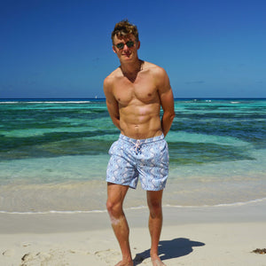Mens swim trunks : FISH - AIRFORCE BLUE designer Lotty B Mustique beachwear