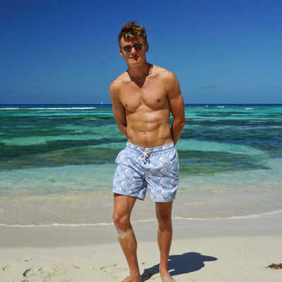 f1ba0f27f6a25 Mens swim trunks : FISH - AIRFORCE BLUE - Pink House Mustique