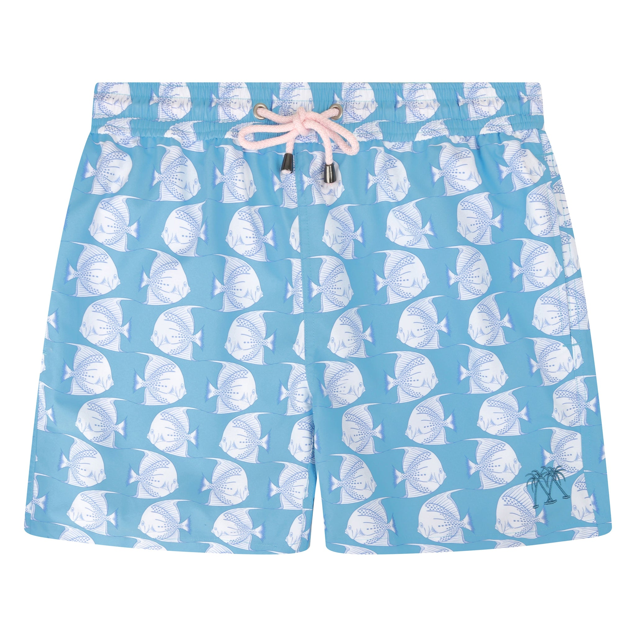 d9ae915481c4d Mens swim trunks : FISH - TURQUOISE designer Lotty B for Pink House Mustique