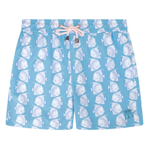 Mens swim trunks : FISH - TURQUOISE designer Lotty B for Pink House Mustique