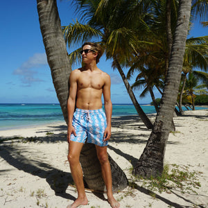 Mens swim trunks : FISH - TURQUOISE designer Lotty B Mustique beach style
