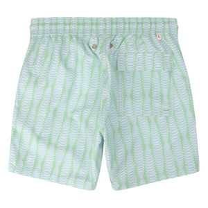 Mens swim trunks : FLAMBOYANT SEED - GREEN back designer Lotty B Mustique